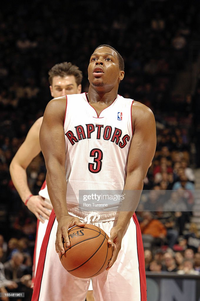 Kyle Lowry #3 of the Toronto Raptors attempts a foul shot vs the Minnesota Timberwolves during the game on November 4, 2012 at the Air Canada Centre in Toronto, Ontario, Canada.