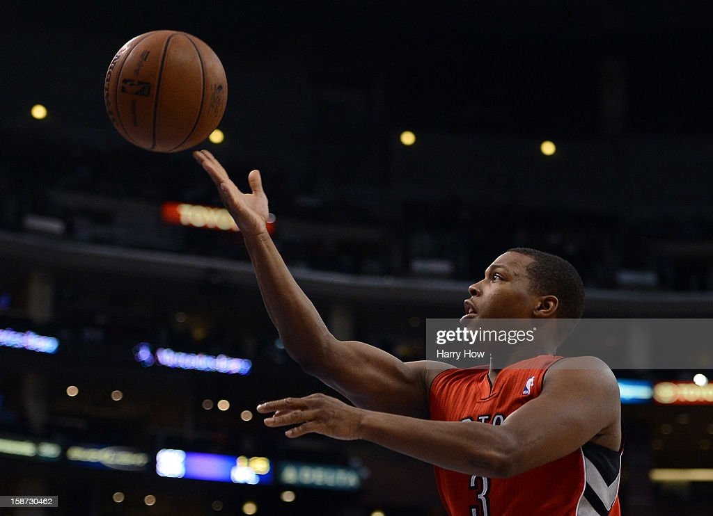 <a gi-track='captionPersonalityLinkClicked' href=/galleries/search?phrase=Kyle+Lowry&family=editorial&specificpeople=714625 ng-click='$event.stopPropagation()'>Kyle Lowry</a> #3 of the Toronto Raptors attempts a layup during a 102-83 Clipper win at Staples Center on December 9, 2012 in Los Angeles, California.