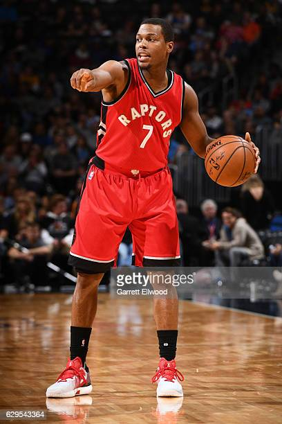 Kyle Lowry of the Toronto Raptors calls a play during a game against the Denver Nuggets on November 18 2016 at the Pepsi Center in Denver Colorado...
