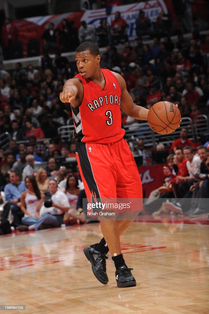 <a gi-track='captionPersonalityLinkClicked' href=/galleries/search?phrase=Kyle+Lowry&family=editorial&specificpeople=714625 ng-click='$event.stopPropagation()'>Kyle Lowry</a> #3 of the Toronto Raptors calls out a play during the game against the Los Angeles Clippers on December 9, 2012 at the Staples Center in Los Angeles, California.