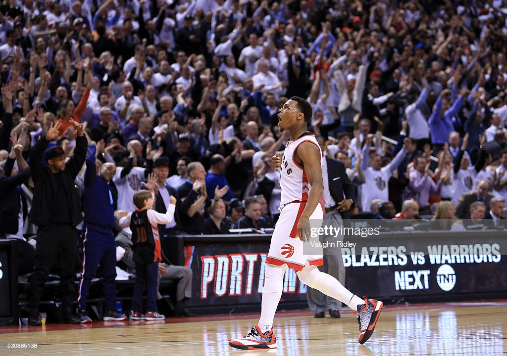<a gi-track='captionPersonalityLinkClicked' href=/galleries/search?phrase=Kyle+Lowry&family=editorial&specificpeople=714625 ng-click='$event.stopPropagation()'>Kyle Lowry</a> #7 of the Toronto Raptors celebrates a 3-pointer late in the second half of Game Five of the Eastern Conference Semifinals against the Miami Heat during the 2016 NBA Playoffs at the Air Canada Centre on May 11, 2016 in Toronto, Ontario, Canada.