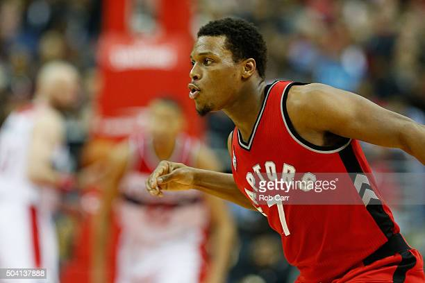 Kyle Lowry of the Toronto Raptors celebrates after hitting a three pointer against the Washington Wizards in the second half at Verizon Center on...