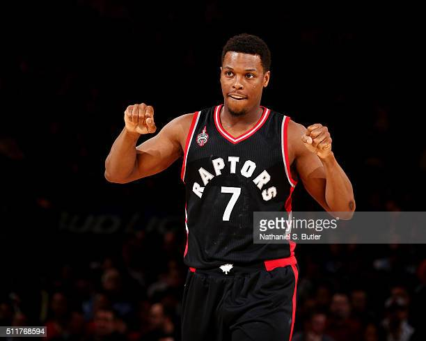 Kyle Lowry of the Toronto Raptors celebrates during the game against the New York Knicks on February 22 2016 at Madison Square Garden in New York...