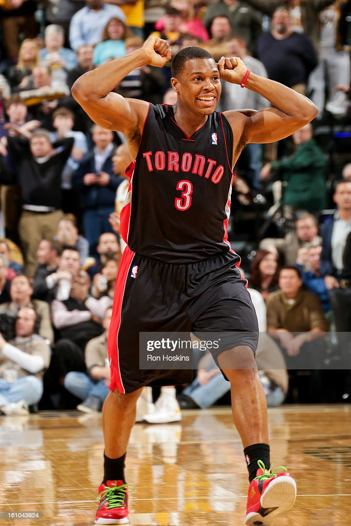 <a gi-track='captionPersonalityLinkClicked' href=/galleries/search?phrase=Kyle+Lowry&family=editorial&specificpeople=714625 ng-click='$event.stopPropagation()'>Kyle Lowry</a> #3 of the Toronto Raptors celebrates while playing the Indiana Pacers on February 8, 2013 at Bankers Life Fieldhouse in Indianapolis, Indiana.