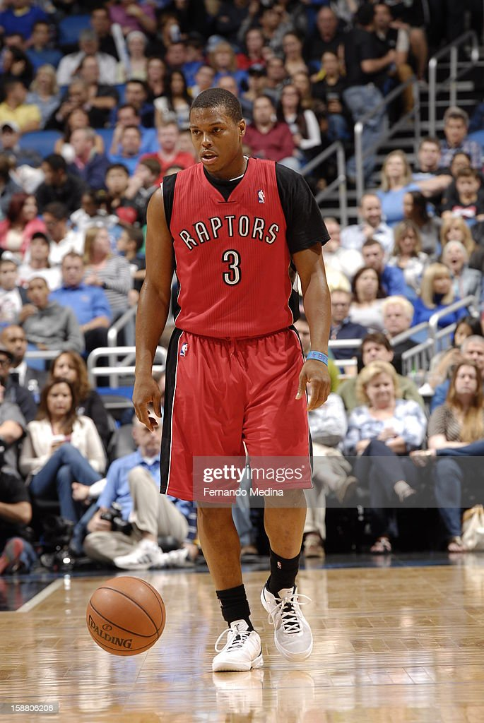 Kyle Lowry #3 of the Toronto Raptors dribbles up the floor against the Orlando Magic during the game on December 29, 2012 at Amway Center in Orlando, Florida.