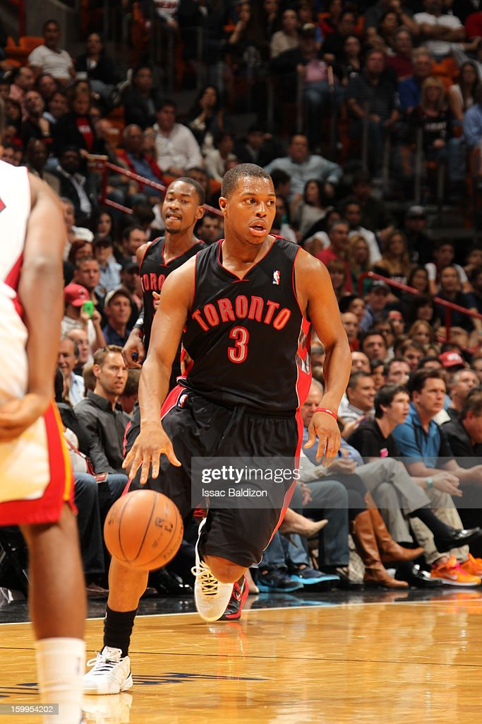 <a gi-track='captionPersonalityLinkClicked' href=/galleries/search?phrase=Kyle+Lowry&family=editorial&specificpeople=714625 ng-click='$event.stopPropagation()'>Kyle Lowry</a> #3 of the Toronto Raptors drives against the Miami Heat on January 23, 2013 at American Airlines Arena in Miami, Florida.