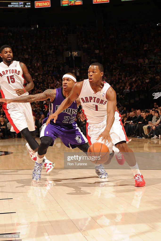 <a gi-track='captionPersonalityLinkClicked' href=/galleries/search?phrase=Kyle+Lowry&family=editorial&specificpeople=714625 ng-click='$event.stopPropagation()'>Kyle Lowry</a> #7 of the Toronto Raptors drives against the Sacramento Kings on March 7, 2014 at the Air Canada Centre in Toronto, Ontario, Canada.