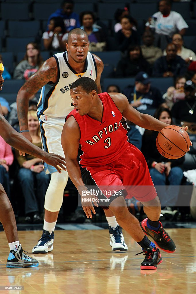 <a gi-track='captionPersonalityLinkClicked' href=/galleries/search?phrase=Kyle+Lowry&family=editorial&specificpeople=714625 ng-click='$event.stopPropagation()'>Kyle Lowry</a> #3 of the Toronto Raptors drives around <a gi-track='captionPersonalityLinkClicked' href=/galleries/search?phrase=Marreese+Speights&family=editorial&specificpeople=4187263 ng-click='$event.stopPropagation()'>Marreese Speights</a> #5 of the Memphis Grizzlies on October 26, 2012 at FedExForum in Memphis, Tennessee.