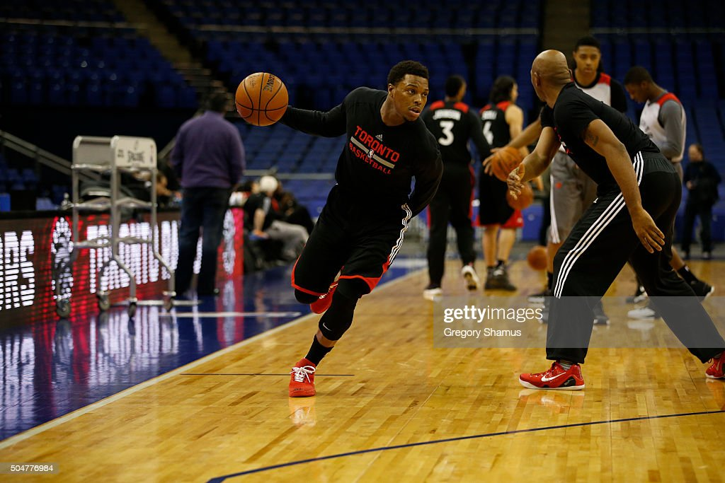Kyle Lowry of the Toronto Raptors drives during practice as part of the 2016 Global Games London on January 13, 2016 at The O2 Arena in London, England.