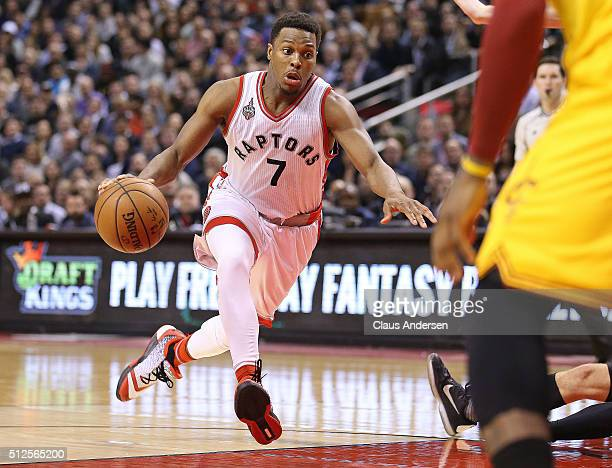 Kyle Lowry of the Toronto Raptors drives for a basket and a game high 43 points against the Cleveland Cavaliers during an NBA game at the Air Canada...