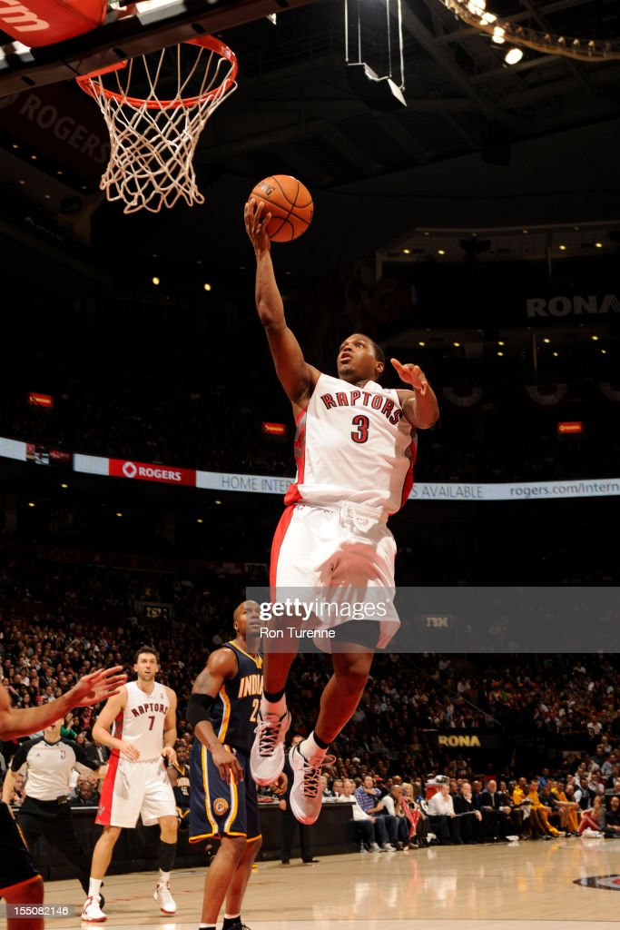 <a gi-track='captionPersonalityLinkClicked' href=/galleries/search?phrase=Kyle+Lowry&family=editorial&specificpeople=714625 ng-click='$event.stopPropagation()'>Kyle Lowry</a> #3 of the Toronto Raptors drives to the basket against the Indiana Pacers on October 31, 2012 at the Air Canada Centre in Toronto, Ontario, Canada.