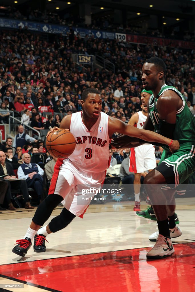 Kyle Lowry #3 of the Toronto Raptors drives to the basket against the Boston Celtics on April 17, 2013 at the Air Canada Centre in Toronto, Ontario, Canada.