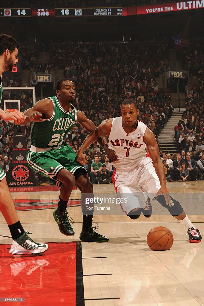 <a gi-track='captionPersonalityLinkClicked' href=/galleries/search?phrase=Kyle+Lowry&family=editorial&specificpeople=714625 ng-click='$event.stopPropagation()'>Kyle Lowry</a> #7 of the Toronto Raptors drives to the basket against the Boston Celtics on October 23, 2013 at the Air Canada Centre in Toronto, Ontario, Canada.