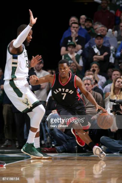 Kyle Lowry of the Toronto Raptors drives to the basket against the Milwaukee Bucks during Game Six of the Eastern Conference Quarterfinals of the...