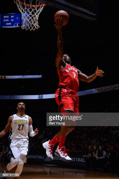 Kyle Lowry of the Toronto Raptors drives to the basket against the Denver Nuggets on November 1 2017 at the Pepsi Center in Denver Colorado NOTE TO...