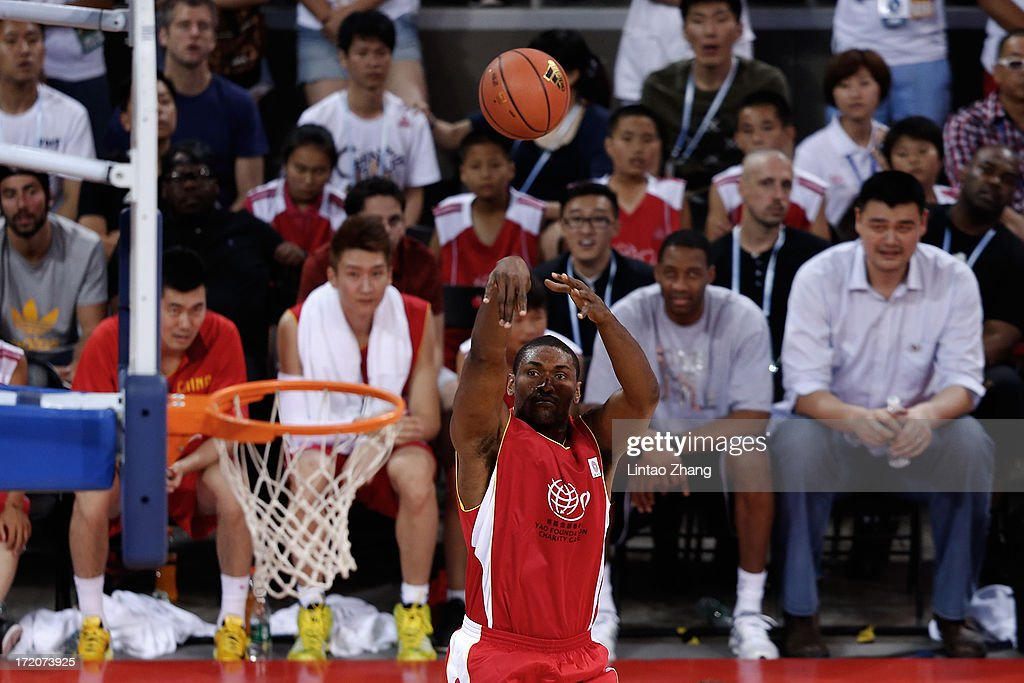 Kyle Lowry of the Toronto Raptors drives to the basket during the 2013 Yao Foundation Charity Game between China and the NBA Stars on July 1, 2013 in Beijing, China.