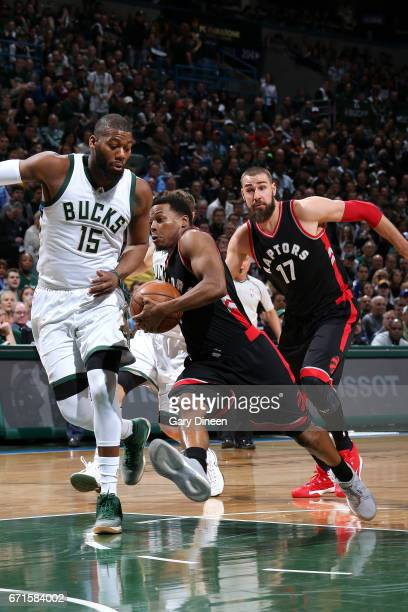 Kyle Lowry of the Toronto Raptors drives to the basket during the game against the Milwaukee Bucks in Game Four during the Eastern Conference...