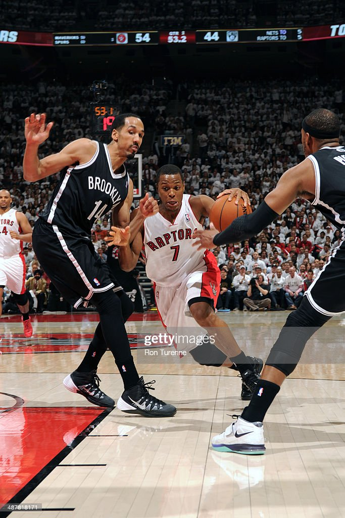 <a gi-track='captionPersonalityLinkClicked' href=/galleries/search?phrase=Kyle+Lowry&family=editorial&specificpeople=714625 ng-click='$event.stopPropagation()'>Kyle Lowry</a> #7 of the Toronto Raptors drives to the basket in Game Five of the Eastern Conference Quarterfinals against the Brooklyn Nets furing the 2014 NBA Playoffs on April 30, 2014 at the Air Canada Centre in Toronto, Ontario, Canada.