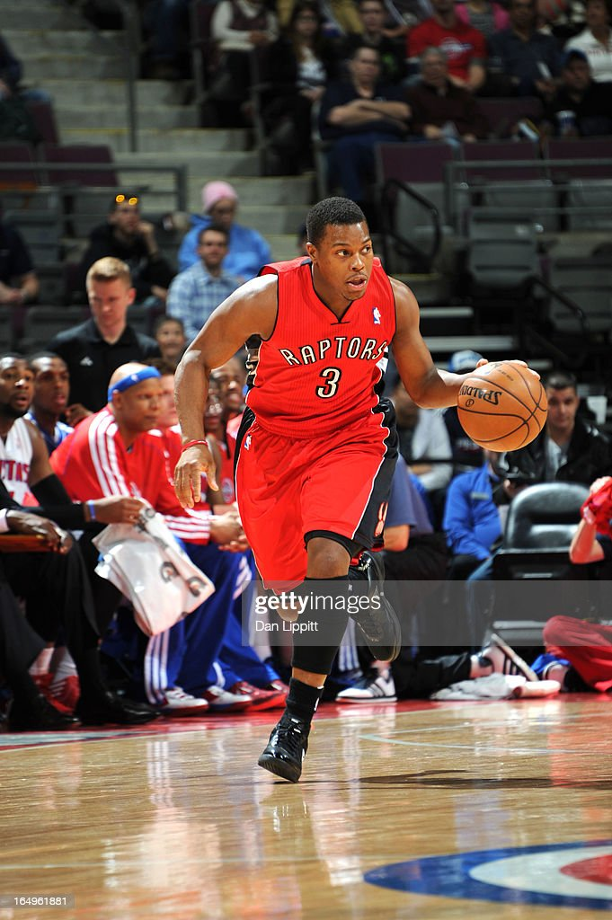 Kyle Lowry #3 of the Toronto Raptors drives up court during the game between the Detroit Pistons and the Toronto Raptors on March 29, 2013 at The Palace of Auburn Hills in Auburn Hills, Michigan.
