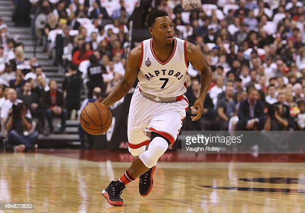 Kyle Lowry of the Toronto Raptors during the NBA season opener against the Indiana Pacers at Air Canada Centre on October 28 2015 in Toronto Ontario...