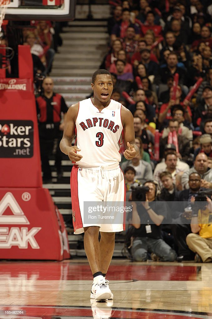 Kyle Lowry #3 of the Toronto Raptors gets excited vs the Minnesota Timberwolves during the game on November 4, 2012 at the Air Canada Centre in Toronto, Ontario, Canada.