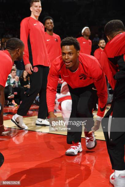 Kyle Lowry of the Toronto Raptors gets introduced before the preseason game against the Detroit Pistons on October 10 2017 at the Air Canada Centre...