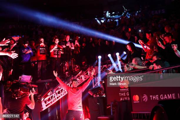 Kyle Lowry of the Toronto Raptors gets introduced before the game against the Chicago Bulls on October 19 2017 at the Air Canada Centre in Toronto...