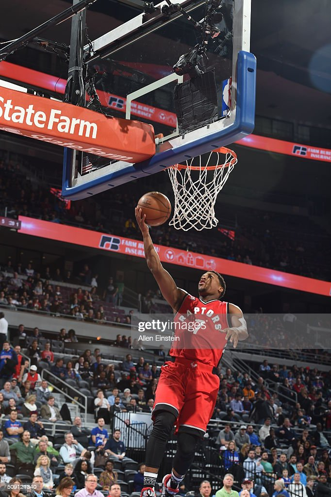 <a gi-track='captionPersonalityLinkClicked' href=/galleries/search?phrase=Kyle+Lowry&family=editorial&specificpeople=714625 ng-click='$event.stopPropagation()'>Kyle Lowry</a> #7 of the Toronto Raptors goes to the basket against the Detroit Pistons on February 8, 2016 at The Palace of Auburn Hills in Auburn Hills, Michigan.