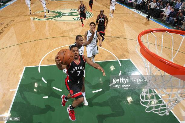 Kyle Lowry of the Toronto Raptors goes to the basket against the Milwaukee Bucks during Game Six of the Eastern Conference Quarterfinals of the 2017...