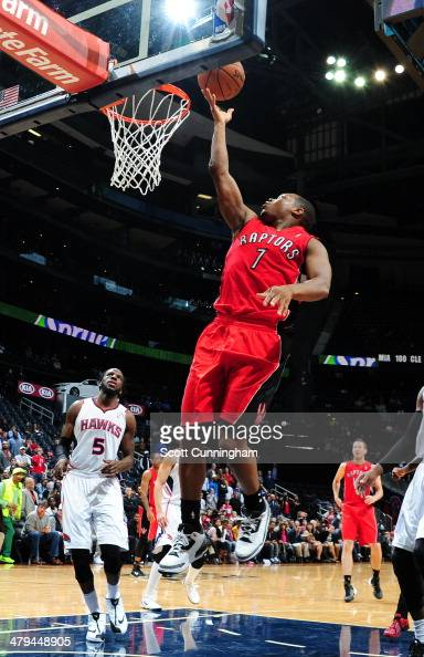 Kyle Lowry of the Toronto Raptors goes up for the layup against the Atlanta Hawks on March 18 2014 at Philips Arena in Atlanta Georgia NOTE TO USER...
