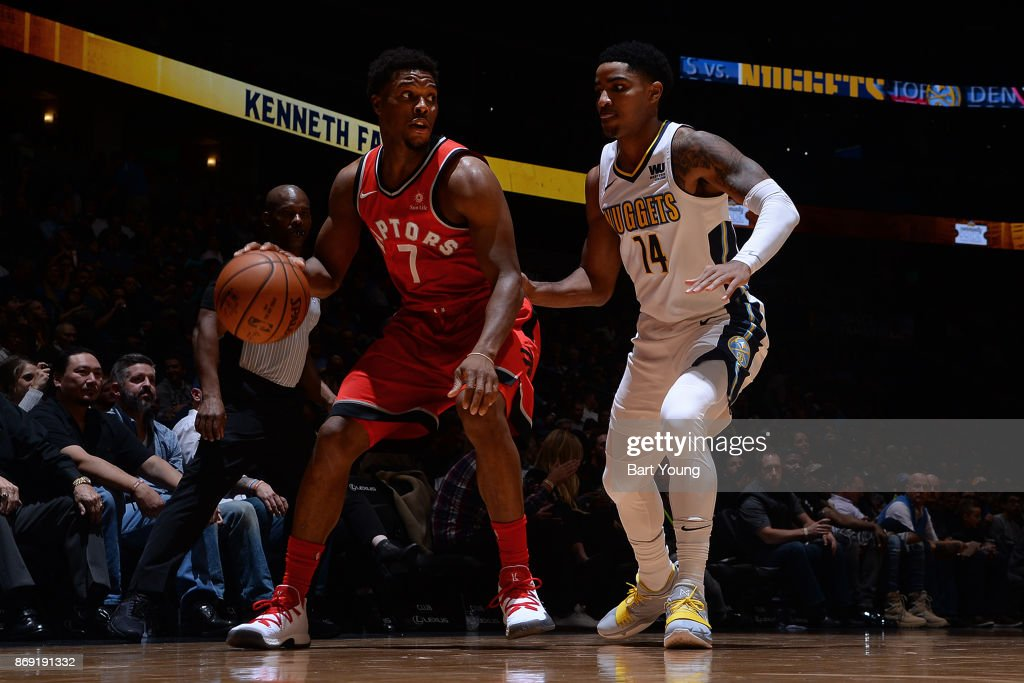 Kyle Lowry #7 of the Toronto Raptors handles the ball against Gary Harris #14 of the Denver Nuggets on November 1, 2017 at the Pepsi Center in Denver, Colorado.