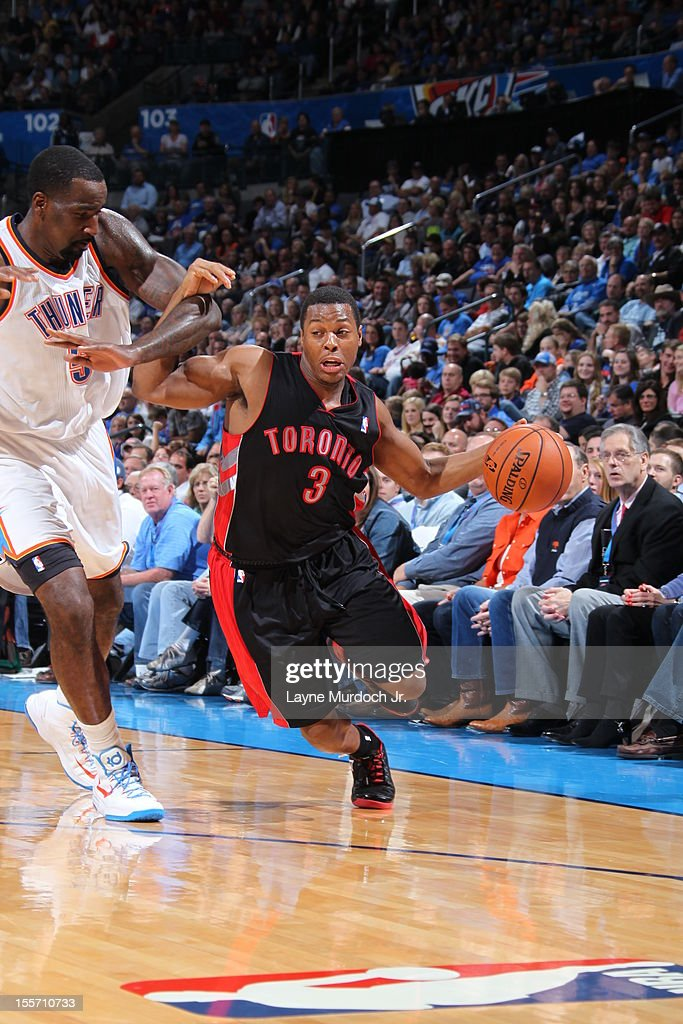 <a gi-track='captionPersonalityLinkClicked' href=/galleries/search?phrase=Kyle+Lowry&family=editorial&specificpeople=714625 ng-click='$event.stopPropagation()'>Kyle Lowry</a> #3 of the Toronto Raptors handles the ball against <a gi-track='captionPersonalityLinkClicked' href=/galleries/search?phrase=Serge+Ibaka&family=editorial&specificpeople=5133378 ng-click='$event.stopPropagation()'>Serge Ibaka</a> #9 of the Oklahoma City Thunder on November 6, 2012 at the Chesapeake Energy Arena in Oklahoma City, Oklahoma.