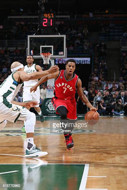 Kyle Lowry of the Toronto Raptors handles the ball against the Milwaukee Bucks on March 15 2016 at the BMO Harris Bradley Center in Milwaukee...