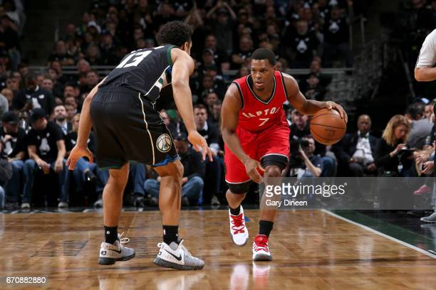 Kyle Lowry of the Toronto Raptors handles the ball against the Milwaukee Bucks during Game Three of the Eastern Conference Quarterfinals of the 2017...