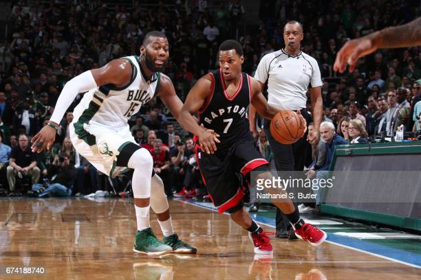 Kyle Lowry of the Toronto Raptors handles the ball against the Milwaukee Bucks during Game Six of the Eastern Conference Quarterfinals of the 2017...