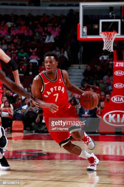 Kyle Lowry of the Toronto Raptors handles the ball against the Chicago Bulls on October 13 2017 at the United Center in Chicago Illinois NOTE TO USER...