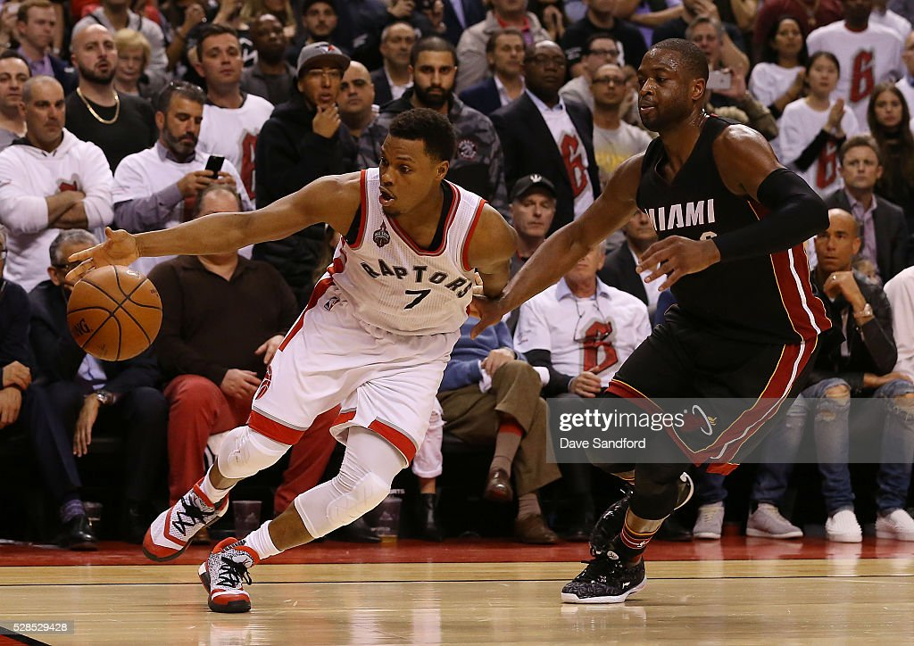 Kyle Lowry #7 of the Toronto Raptors handles the ball against the Miami Heat in Game Two of the Eastern Conference Semifinals on May 5, 2016 at the Air Canada Centre in Toronto, Ontario, Canada.