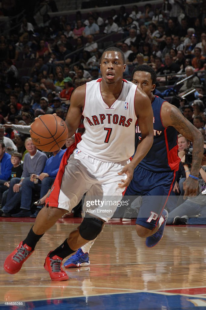 Kyle Lowry #7 of the Toronto Raptors handles the ball against the Detroit Pistons on April 13, 2014 at The Palace of Auburn Hills in Auburn Hills, Michigan.