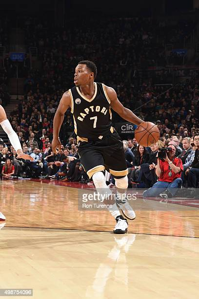 Kyle Lowry of the Toronto Raptors handles the ball against the Cleveland Cavaliers on November 25 2015 at the Air Canada Centre in Toronto Ontario...