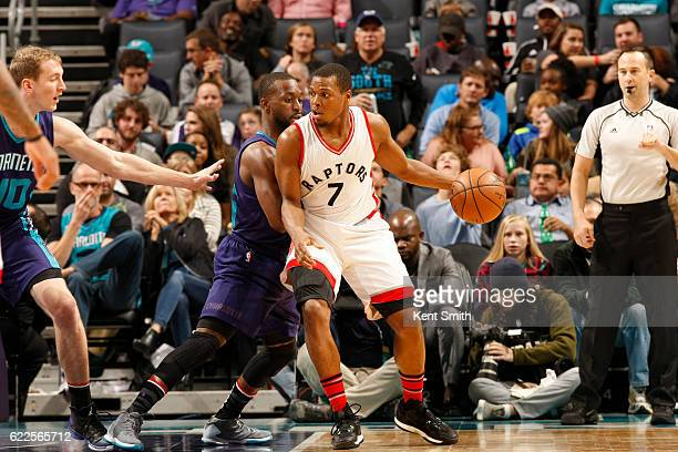 Kyle Lowry of the Toronto Raptors handles the ball against the Charlotte Hornets on November 11 2016 at Time Warner Cable Arena in Charlotte North...