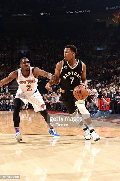 Kyle Lowry of the Toronto Raptors handles the ball during the game against the New York Knicks on January 28 2016 at the Air Canada Centre in Toronto...