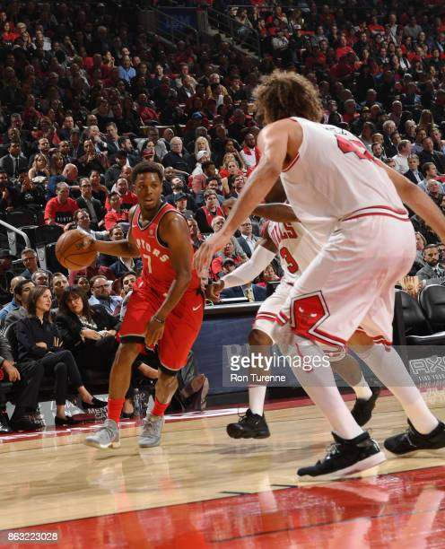 Kyle Lowry of the Toronto Raptors handles the ball during the game against the Chicago Bulls on October 19 2017 at the Air Canada Centre in Toronto...