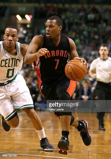Kyle Lowry of the Toronto Raptors handles the ball in the second quarter against Avery Bradley of the Boston Celtics at TD Garden on April 14 2015 in...