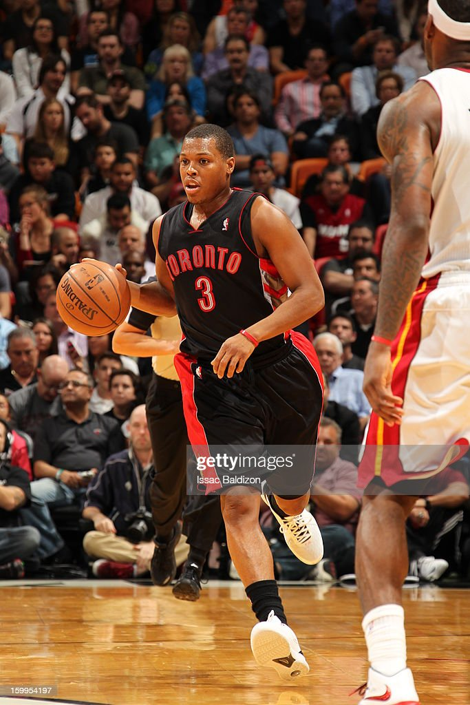 <a gi-track='captionPersonalityLinkClicked' href=/galleries/search?phrase=Kyle+Lowry&family=editorial&specificpeople=714625 ng-click='$event.stopPropagation()'>Kyle Lowry</a> #3 of the Toronto Raptors handles the ball up-court against the Miami Heat on January 23, 2013 at American Airlines Arena in Miami, Florida.