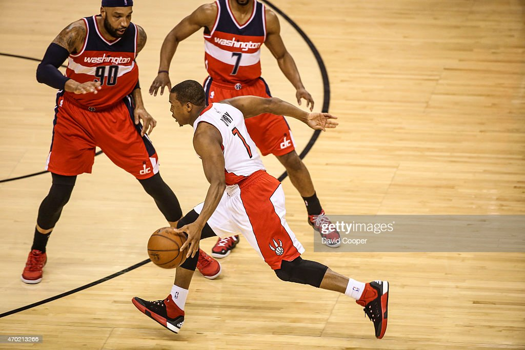 TORONTO, ON- APRIL 18 - <a gi-track='captionPersonalityLinkClicked' href=/galleries/search?phrase=Kyle+Lowry&family=editorial&specificpeople=714625 ng-click='$event.stopPropagation()'>Kyle Lowry</a> (7) of the Toronto Raptors heads for the hoop during the game between the Toronto Raptors and the Washington Wizards at the Air Canada Centre April 18, 2015