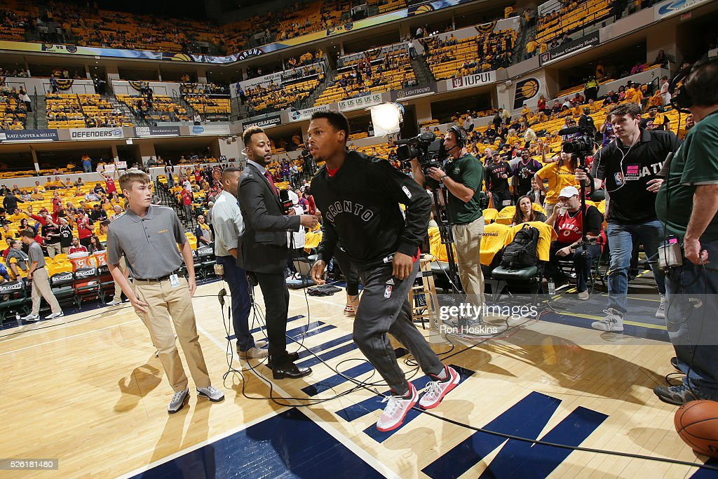 Kyle Lowry #7 of the Toronto Raptors is introduced before the game against the Indiana Pacers in Game Six of the Eastern Conference Quarterfinals during the 2016 NBA Playoffs on April 29, 2016 at Bankers Life Fieldhouse in Indianapolis, Indiana.