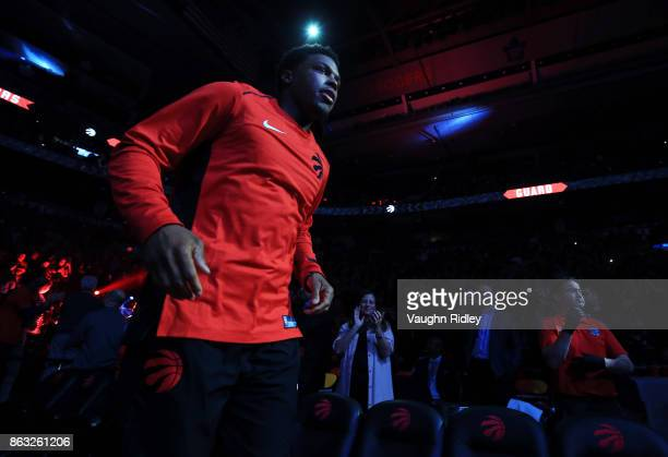 Kyle Lowry of the Toronto Raptors is introduced prior to an NBA game against the Chicago Bulls at Air Canada Centre on October 19 2017 in Toronto...