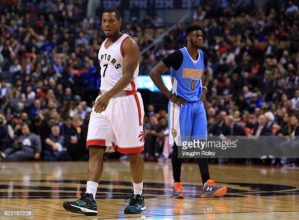 Kyle Lowry of the Toronto Raptors looks on during the first half of an NBA game against the Denver Nuggets at Air Canada Centre on October 31 2016 in...