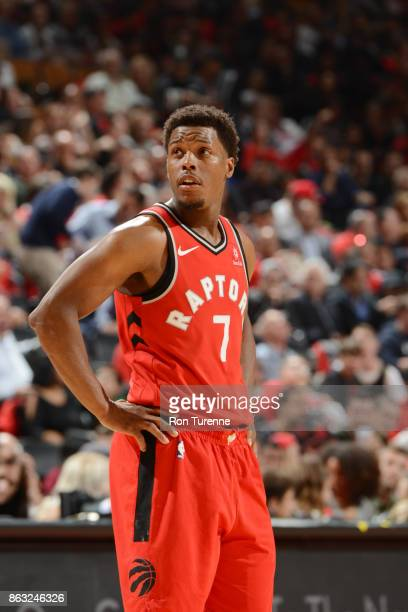 Kyle Lowry of the Toronto Raptors looks on during the game against the Chicago Bulls on October 19 2017 at the Air Canada Centre in Toronto Ontario...