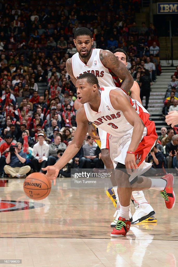 <a gi-track='captionPersonalityLinkClicked' href=/galleries/search?phrase=Kyle+Lowry&family=editorial&specificpeople=714625 ng-click='$event.stopPropagation()'>Kyle Lowry</a> #3 of the Toronto Raptors looks to drive to the basket against the New Orleans Hornets on February 10, 2013 at the Air Canada Centre in Toronto, Ontario, Canada.